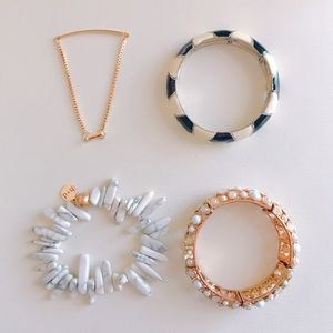 Set of 4 Boutique Bracelets - Gold, White, Black